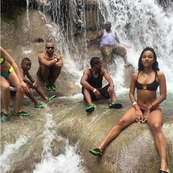 Karrueche Tran spotted chilling at Dunn's River in jamaica