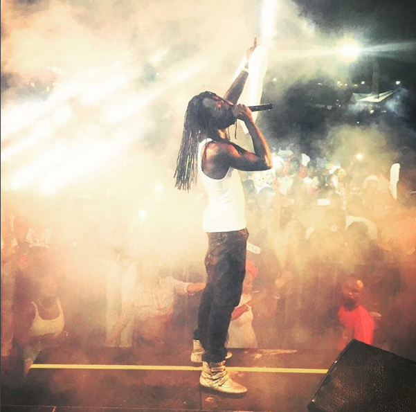 Mavado performing in Hyannis, Massachusetts